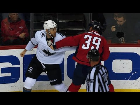 Sharks' Goodrow, Capitals' Chiasson attempt a fight to Stone Cold's theme song