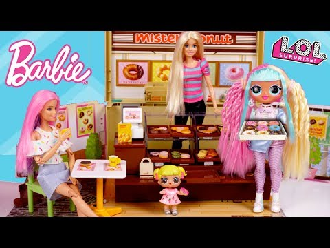 Barbie LOL Family Donut Shop Breakfast Routine With Baby Goldie & Twins