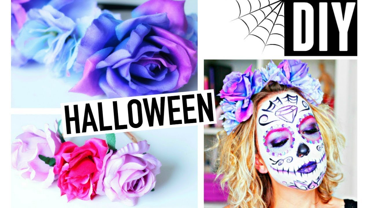 diy halloween facile fran ais couronne de fleurs sugar skull youtube. Black Bedroom Furniture Sets. Home Design Ideas