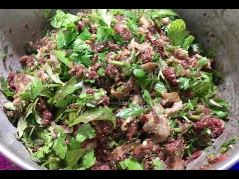 How to make Larb beef bitter & sour Cook  raw ອາຫານລາວ ( LAO FOOD ) HOME MADE BY KAYSONE
