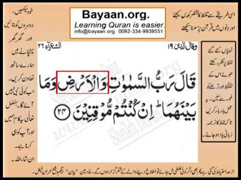 Quran in urdu Surrah 026 Ayat 024 Learn Quran translation in Urdu Easy Quran Learning
