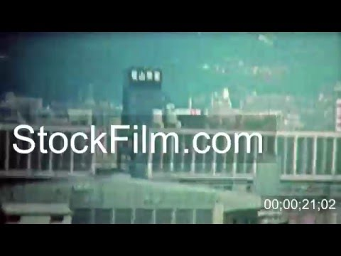 1972: Kyoto ocean shipping container cranes and high tech harbor. TOKYO, JAPAN