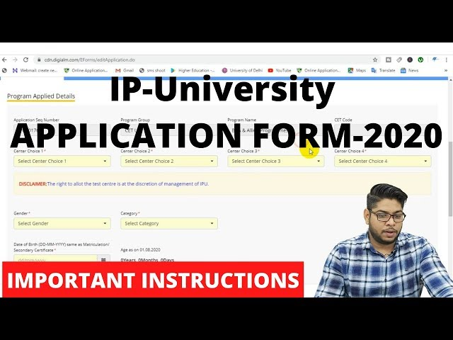 How to fill IP-University Application form 2020-GGSIPU Online Admission Process Complete Details