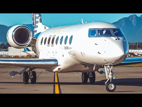 (4K) Qatar Executive Private Jet (G650ER) Arrival/Taxi at Vancouver YVR