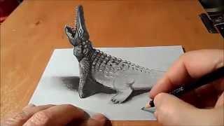 رسم تمساح بطريقة ثلاثية الابعاد مذهل  drawing 3D