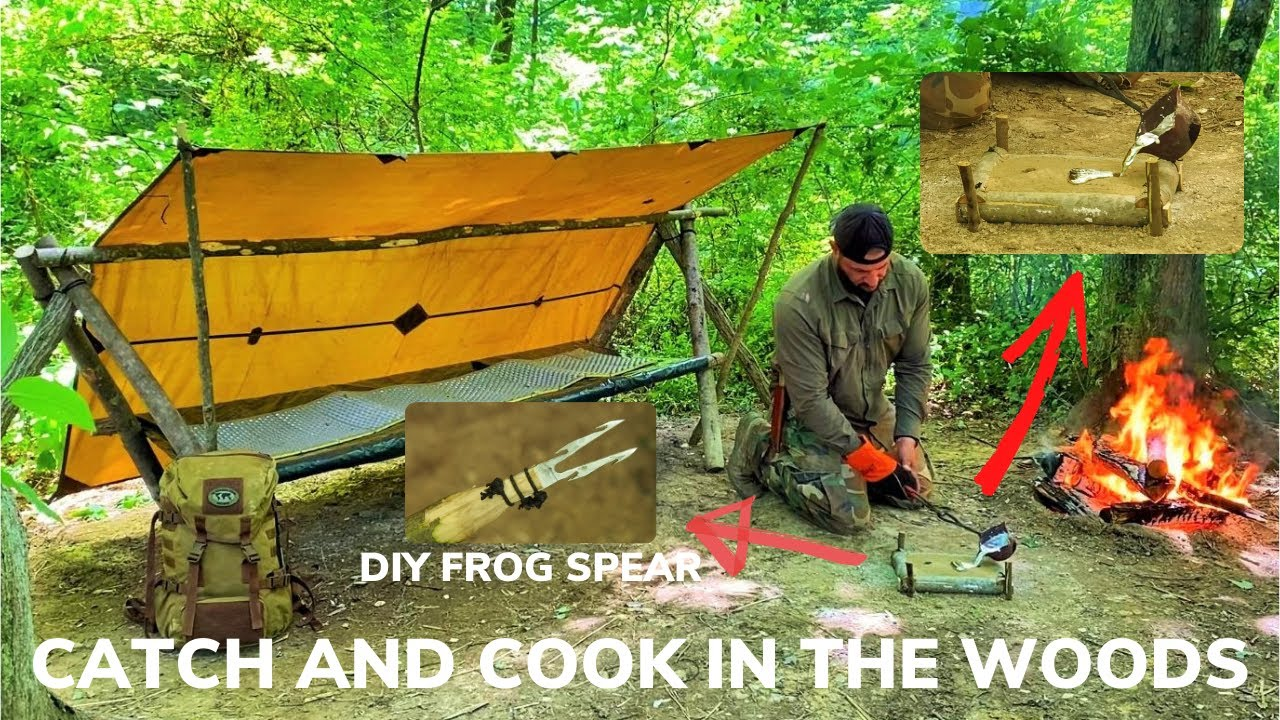 Solo Overnight Building a Bushcraft Shelter and Melting Aluminum In the Woods and Bacon Bison Chili