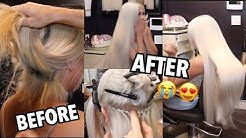 EXTREME HAIR TRANSFORMATION: 40 INCH PERMANENT WHITE EXTENTIONS!!!