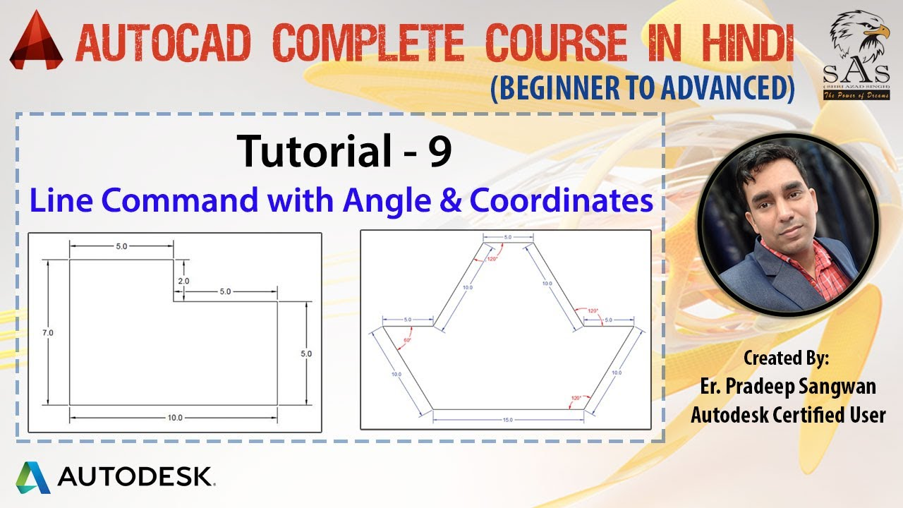 autocad 2016 tutorial for beginners 9 how to draw line with