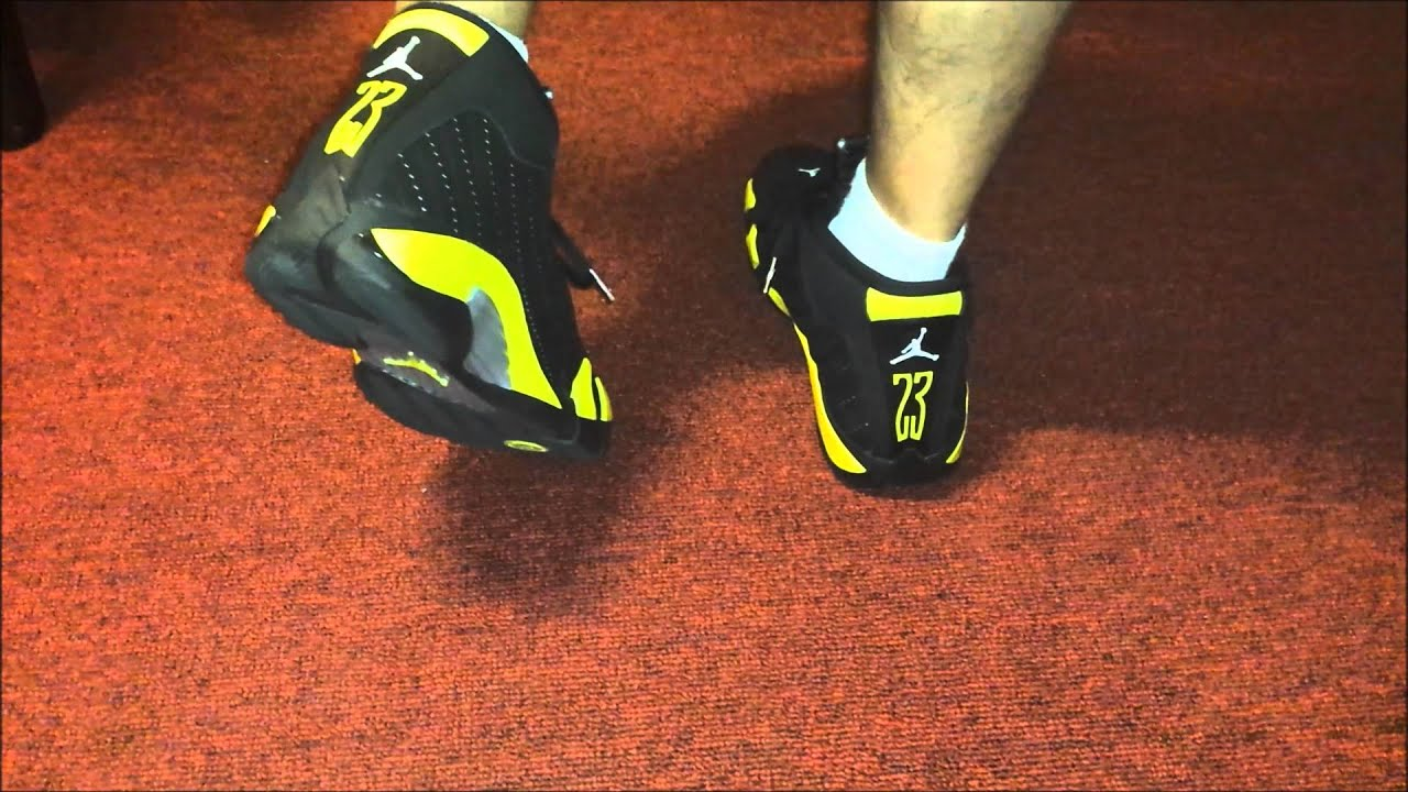 online retailer 619b5 09a5b 2014 Air Jordan Black and Yellow thunder 14s On Feet - AnAsianBr0skii
