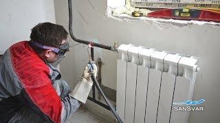 замена радиаторов отопления с газосваркой.mov