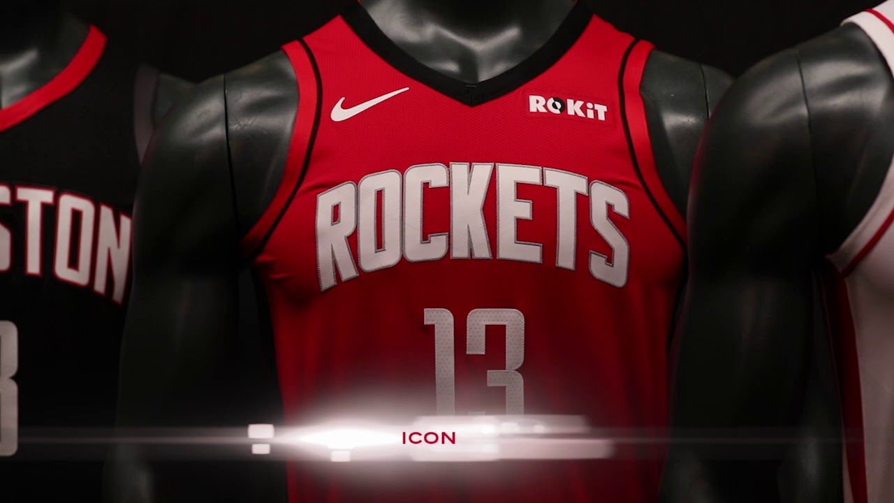 purchase cheap f2aea cb9ae 2019-2020 Houston Rockets Jerseys featuring ROKiT Official Partnership Patch