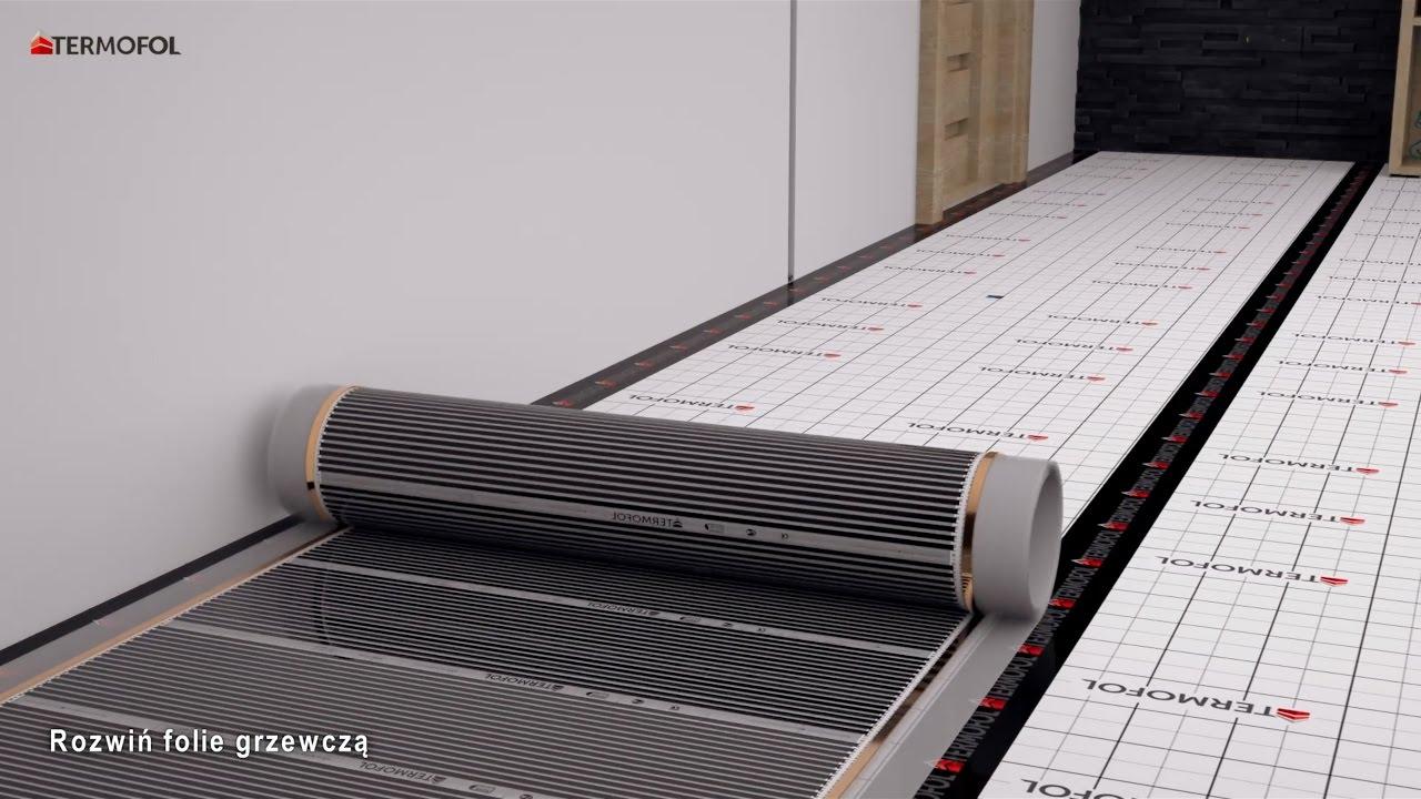 FOLIA GRZEWCZA TERMOFOL - Wizualizacja montażu folii grzewczej pod panelami i deską podłogową