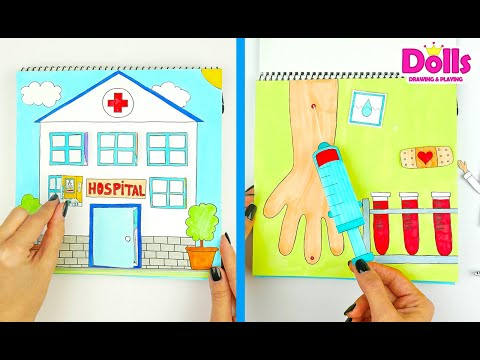 HOSPITAL QUIET BOOK IN ALBUM FOR KIDS PAPER DOLL PLAYING DOCTOR SET