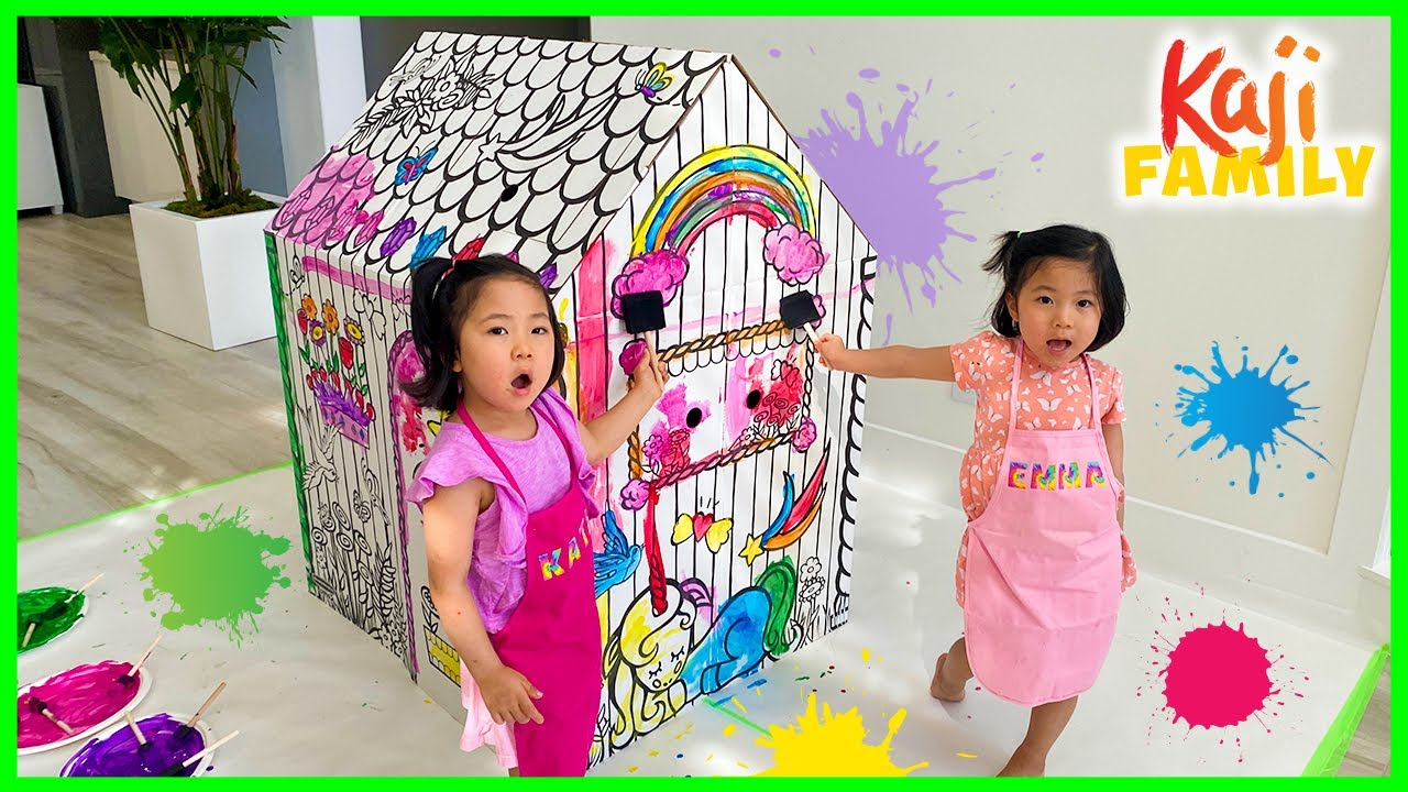 Emma and Kate DIY Paint PlayHouse for Kids!!!