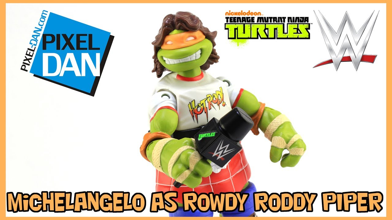 Teenage Mutant Ninja Turtle WWE Ninja Super Stars Michelangelo Rowdy Roddy Piper