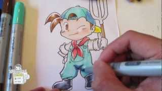 How to draw Harvest Moon boy (Back to Nature)