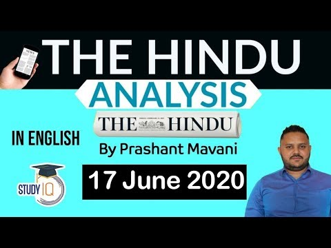 English 17 June 2020 - The Hindu Editorial News Paper Analysis [UPSC/SSC/IBPS] Current Affairs