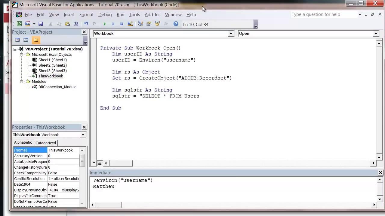 Excel 2010 VBA Tutorial 72 ADODB Recordsets and SQL