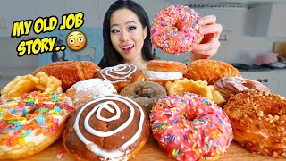 DOZEN CREAMY DONUTS (Chocolate + Nutella + Sprinkles + CRONUTS) MUKBANG | Eating Show