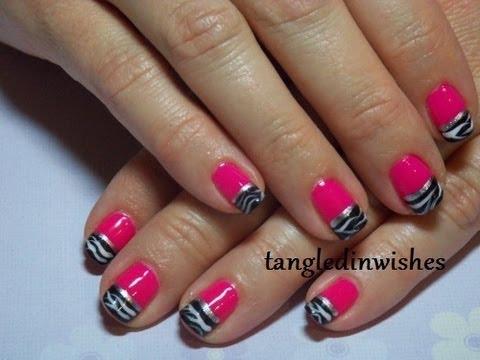 black white pink zebra nails youtube