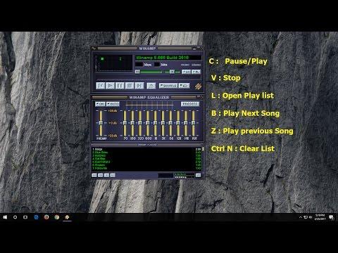 Winamp Shortcut Keys (Pause/Play/Next/Previous/Clear/Open List (Hindi)