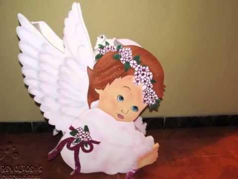 FIGURAS ANGELES EN ICOPOR PRIMERA COMUNION - YouTube