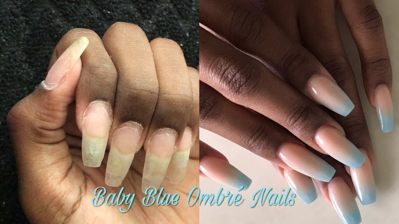 Acrylic Nails At Home How To Infill Repair Redesign Baby Blue