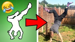 Trying FORTNITE DABSTAND EMOTE in REAL LIFE!