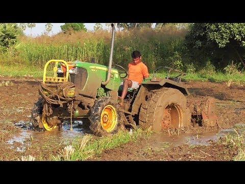 John Deere Tractor Struggling In Deep Mud | JD 5045D 4WD | Crazy Tractor Driver | SWAMI Tractors