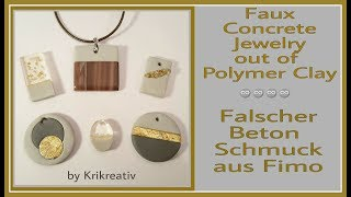 Faux Concrete Jewelry out of Polymer Clay, Tutorial, Falscher Beton Schmuck aus Fimo,