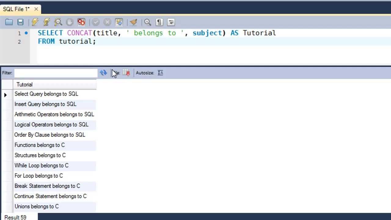 SQL Tutorial - 38: The CONCAT() Function