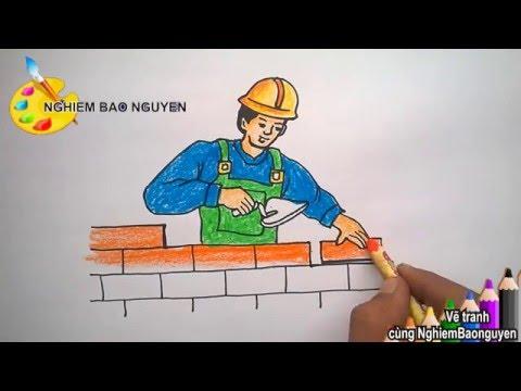 Vẽ chú Công nhân xây dựng/How to Draw Builder
