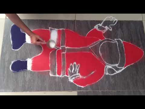 Very Easy Santa Claus Rangoli design for Christmas