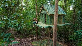 Build the Most Beautiful Jungle Bamboo House Villa by Ancient Skill