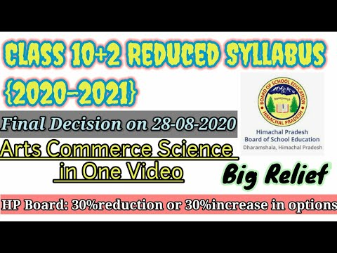 HP Board Deleted Chapters/increase options|Class+2 Syllabus Arts-Commerce-Science|Big Relief|2020-21
