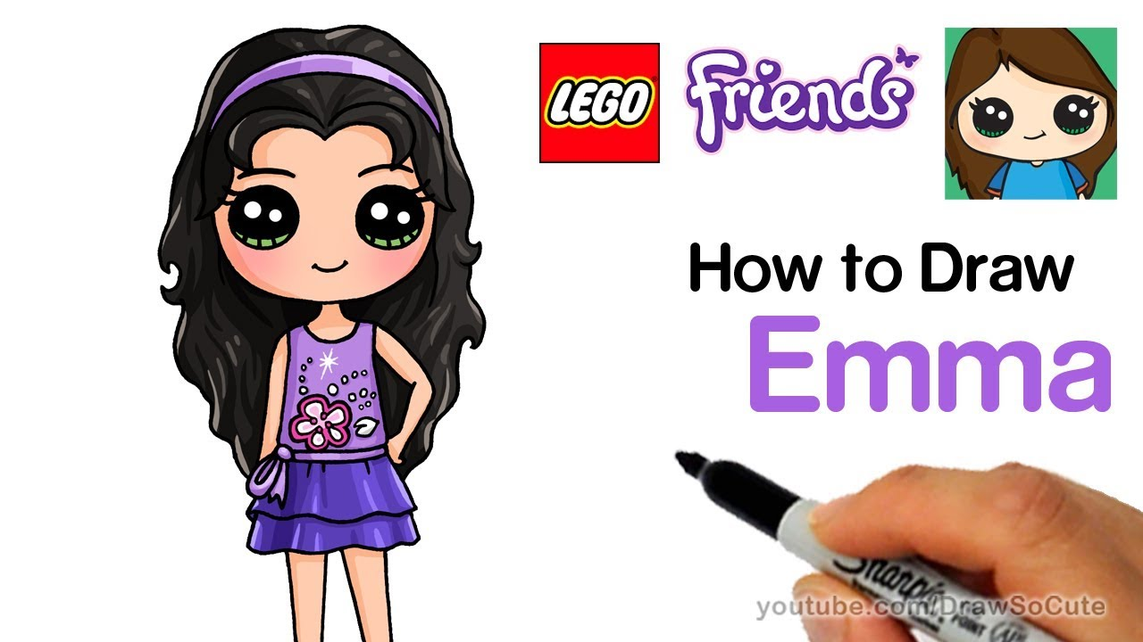 how to draw lego friends emma easy youtube. Black Bedroom Furniture Sets. Home Design Ideas