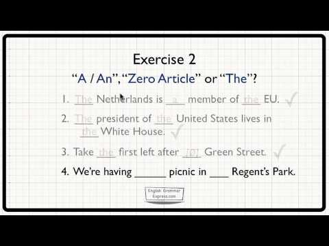 Zero Article & 'The': Special Uses - Exercise 2