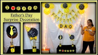Gambar cover Fathers day decoration |Yellow and Black theme| backdrop ideas| theme decoration|