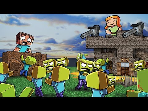 Minecraft | ZOMBIE BASE CHALLENGE - Zombie Horde Attacks! (Noob vs Pro)