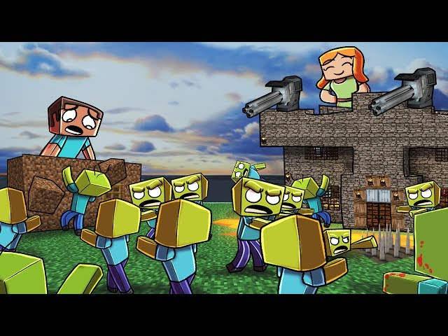 Minecraft   ZOMBIE BASE CHALLENGE - Zombie Horde Attacks! (Noob vs Pro)