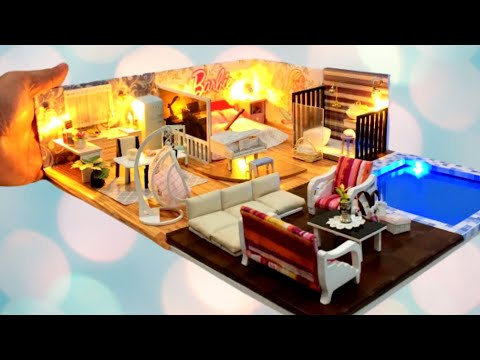 DIY MINIATURE DOLLHOUSE in a SHOEBOX ~ BARBIE DOLLHOUSE with SWIMMING POOL
