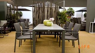 LIFE Outdoor Living - Concept dining lava - with Sense lava/carbon dining chairs