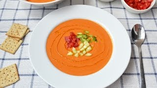 How To Make Gazpacho - Easy Spanish Cold Soup With Vegetables Recipe