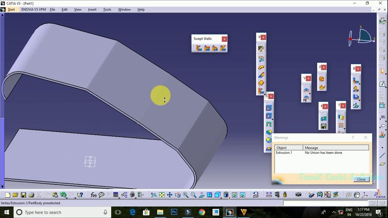 Catia V5 Sheet Metal Design Extrusion Command -- Tamil