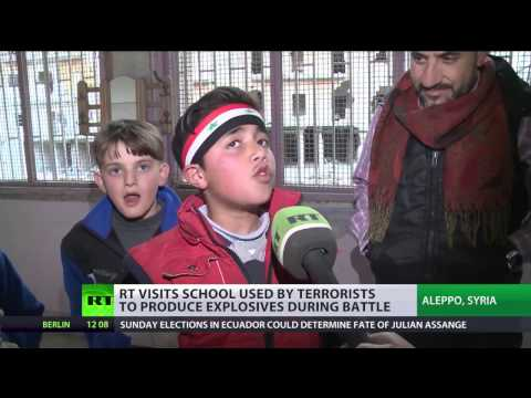 RT visits Aleppo school used by jihadists to manufacture & store explosives