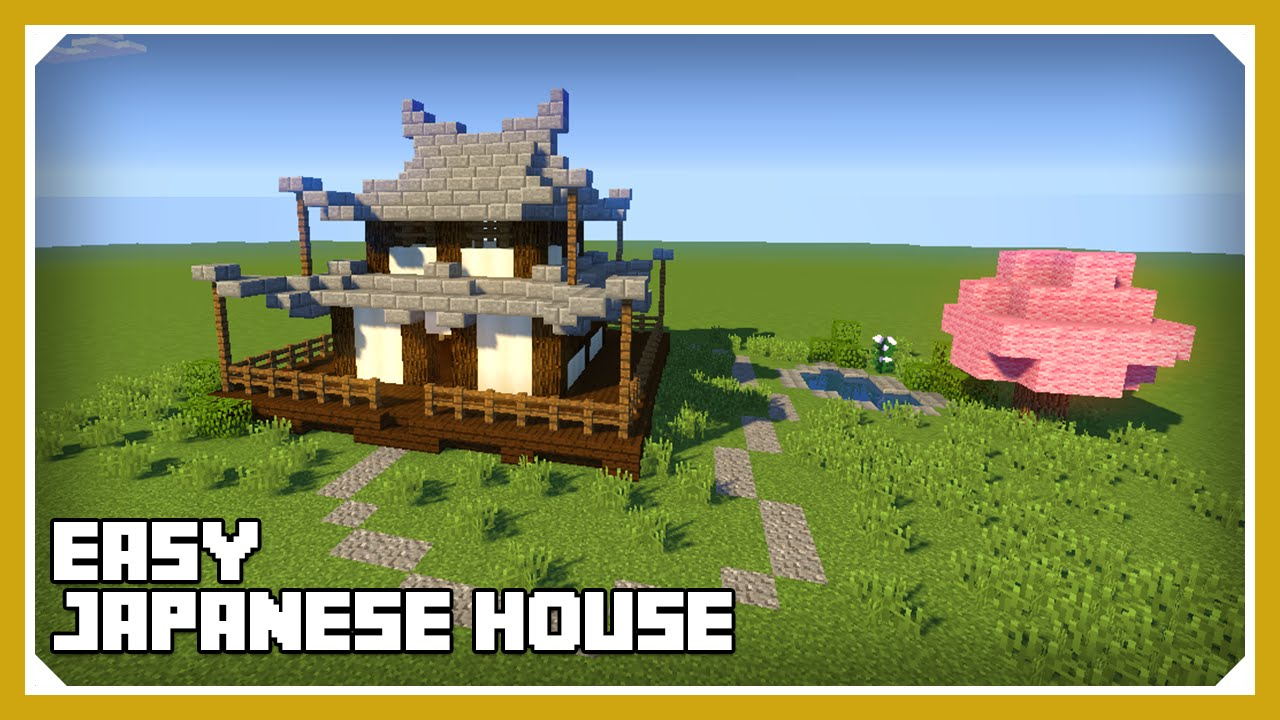 Minecraft how to build a japanese house tutorial easy for Classic house tutorial