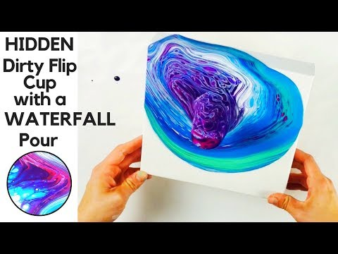 HIDDEN Flip Cup with a WATERFALL Acrylic Pour making Fluid Art