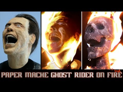 Burning Paper Mache Ghost Rider/ Nicolas Cage Sculpture Timelapse