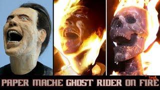 Burning Paper Mache Ghost Rider/ Nicolas Cage Sculpture Timelapse