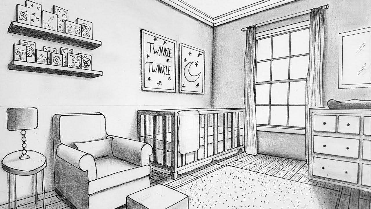 Drawing in Two Point Perspective| Nursery Room | Timelapse ...